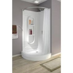 null Freesia 38 in. x 38 in. x 78 in. Shower Kit in White | Shower ...