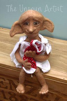 Needle Felted Dobby Art doll by UnspunArtist on Etsy Needle Felted Animals, Felt Animals, Felt Diy, Felt Crafts, Harry Potter Dolls, 3d Figures, Needle Felting Tutorials, Harry Potter Christmas, Felt Mouse
