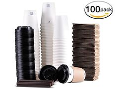 Disposable Coffee Cups To Go with Travel Lids Sleeves and Straws 100 Biodegradable  Compostable Pla Eco Friendly Paper Coffee Cups 100 Sets of 12 oz * For more information, visit image link.Note:It is affiliate link to Amazon.
