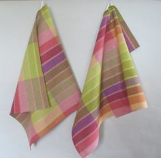 Linen Cotton Dish Towels Checked Checkered Pink Red by Initasworks