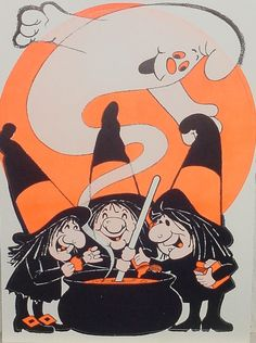 Retro HALLOWEEN Decoration WITCH PARTY Coven At Cauldron With Ghost Vintage New Old Stock