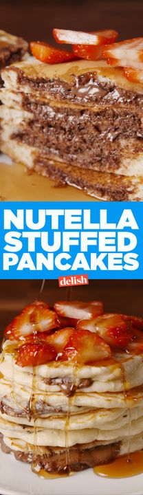 There's a genius hack to making these Stuffed Nutella Pancakes. Get the recipe from Delish.com.