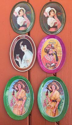 Set Of 6 Drink Coca-Cola Mini Oval Change Tip Tin Trays Vintage    eBay