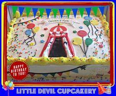 Circus theme half sheet cake