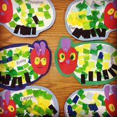 The Very Hungry Caterpillar - Craft to go along with the book. Eric Carle, Kindergarten Art, Preschool Activities, Book Activities, The Very Hungry Caterpillar Activities, Classroom Crafts, Spring Activities, Art Plastique, Art For Kids