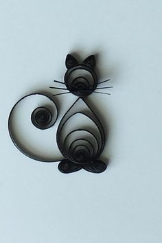 Quilled Paper Greeting Card Black Cat on White A2 by CraftiMiMi