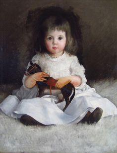 Cecilia Beaux (American, 1855 - 1942) - Portrait of a young girl with toy horse, c. 1900