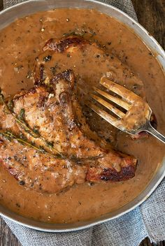 Pork Chops with Peppercorn Sauce *use arrowroot flour instead of flour & xanthan gum to thicken sauce