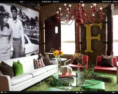 Painted chandelier, creative lightbulbs, oversized canvas picture, letter on the wall... all make this space edgy