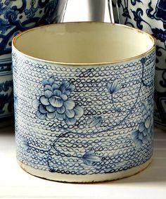 Blue and White Round Porcelain Vase/Planter - Planters