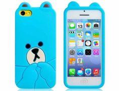 Cute 3D Bear Design Silicone Case For Iphone 5C (Blue) Ysk