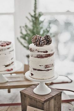 15 Trendy Winter Wedding Cakes:#a tall semi naked wedding cake topped with pinecones looks like a real winter one