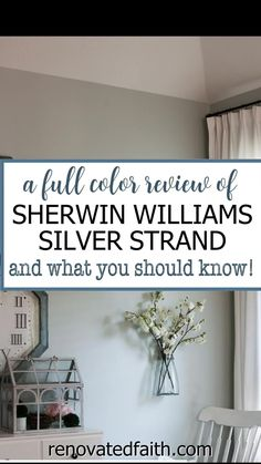 WHAT YOU SHOULD KNOW before painting your bedroom, bathroom or living room this vibrant paint color. Here's a full review along with how to decorate around this dynamic color!So what color is Sherwin Williams Silver Strand? A Joanna Gaines top pick, this gray has gorgeous blue and green undertones so it's important to know how to decorate & what colors go with Sherwin Williams Silver Strand. Included are SWSS paint strip comparisons (vs. Sea Salt). Silver Strand Paint, Silver Grey Paint, Best Gray Paint, Blue Gray Paint Colors, Blue Green Paints, Colors To Brighten A Room, Home Renovation, Living Room Paint Colors, Sherwin Williams Silver Strand