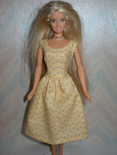 Handmade Barbie clothes  yellow cotton print by TheDesigningRose, $6.00