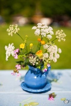 Wild flowers as a centerpiece.