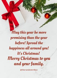 May this year be more promising than the year before! Spread the happiness all around you! It's Christmas! Merry Christmas to you and your family. #Christmasquotes #Merrychristmasquotes #Shortchristmasquotes #2020Christmasquotes #Merrychristmas2020quotes #Christmasgreetings #Inspirationalchristmasquotes #Cutechristmasquotes #Christmasquotesforfriends #Warmchristmaswishes #Bestchristmasquotes #Christmasbiblequotes #Christmaswishesforfamily #Christmascaptions #Merrychristmasimages #therandomvibez Christmas Wishes For Family, Short Christmas Quotes, Christmas Quotes Images, Christmas Quotes For Friends, Christmas Captions, Christmas Bible, Merry Christmas Images, Merry Christmas Greetings, Christmas Greeting Cards