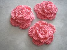 Crochet Rolled Petal Flower in french rose set of by lilyscrochet, $2.25