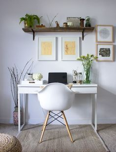 how to bring nature inside to decorate - simple Spring home office