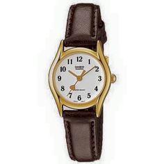 Casio Vintage piel  LTP1094Q7B5 $450. • Resistente al agua  • Correa de cuero auténtico Cristal mineral Resistente al agua Material de la caja / del bisel: Pd plateado Extensible de cuero genuino Analógica: 3 agujas (hora, minuto, segundo) Precisión: ± 20 segundos por mes Aprox. de la pila: 3 años en el modelo SR626SW Tamaño de la caja: 28.5 × 23 × 7.1 mm Peso total: 18 g Casio Vintage, Watches, Gold, Leather, Accessories, Fashion, Model, Real Leather, Crystals Minerals