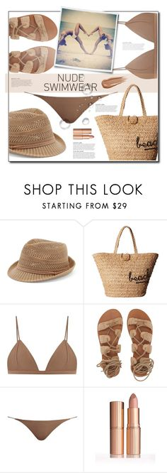 """""""Nude Swimwear"""" by tina-miholic ❤ liked on Polyvore featuring Candie's, Hat Attack, Jade Swim, Billabong, KAROLINA and Hourglass Cosmetics"""