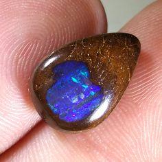 7.8CT Electric Flash Gree/Blue Australian Boulder Opal, Teardrop, Unset by TheOpalGuys on Etsy