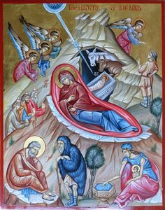 The Nativity of The Lord, icon hand painted, byzantine icon, orthodox icon by Georgi Chimev Religious Images, Religious Icons, Nativity Painting, Greek Icons, Religion, The Doors Of Perception, Byzantine Icons, Icon Collection, Catholic Art