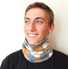 Cashmere Buff MUSTARD & GRAY Argyle Unisex Gaiter by WormeWoole. Pefect for fall and winter days -- indoors or out!