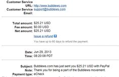 My first payment from Bubblews.  That was easy!