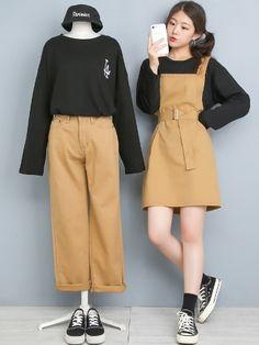 마리쉬♥패션 트렌드북! Korean Girl Fashion, Korean Fashion Trends, Korean Street Fashion, Ulzzang Fashion, Korea Fashion, Cute Fashion, Look Fashion, Kpop Fashion Outfits, Edgy Outfits