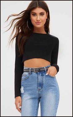 39b526d421 Black Ribbed Long Sleeve Crop Top. Tops