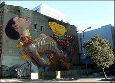 Os Gemeos (Brasil) & Ariz (España) Street art   Lodz, Poland