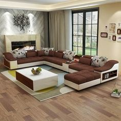 living room furniture modern U shaped leather fabric corner sectional sofa set design couches for living room with ottoman Corner Sofa Design, Corner Sofa Set, Living Room Sofa Design, Living Room Furniture, Living Room Designs, Living Rooms, Corner Sectional Sofa, Living Room Sectional, 7 Seater Living Room