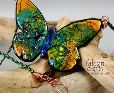 pendant butterfly,green yellow blue,eggshell mosiac,handmade butterfly pendant,eggshell,alcohol ink,wax cotton,copper ,large,female gift