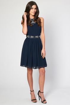 Lace & Beads Dress <br /> <br /> - Embellished top detail & waistband <br /> - Floaty Skater skirt<br /> - Zip on reverse<br /> <br /> Material: Outer fabric: Polyester, Lining: Polyester<br /> <br /> Care: Hand Wash Only Embellished Top, Navy Dress, Beaded Lace, Skater Skirt, Beads, Bridesmaids, Skirts, Fabric, Detail