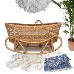 Mid Century Modern Rattan & Bent Bamboo Bassinet Cradle Rocking Bohemian Nursery - Image 2 of 11