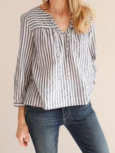 Taking a basic henley and adding subtle details elevates the Eden pop-over top. The easy fit, gentle volume and shorter length is sweet simplicity. Western Wear Dresses, Modelos Plus Size, Korean Girl Fashion, Picasso Blue, Striped Jacket, Short Tops, T Shirts For Women, Clothes For Women, Clothing Patterns