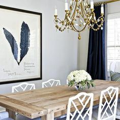 White and Navy Dining Room, Transitional, dining room, Benjamin Moore Balboa Mist, Studio McGee