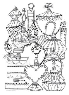 Perfume bottles coloring page (Perfume Bottle Sketch) Free Adult Coloring Pages, Free Printable Coloring Pages, Colouring Pages, Coloring Pages For Kids, Coloring Sheets, Coloring Books, Buch Design, Doodle Art, Embroidery Patterns