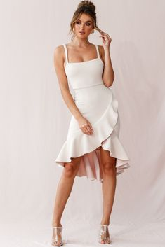 Order the Cartagena High-Low Asymmetric Salsa Dress Beige only at Selfie Leslie! Salsa Outfit, Salsa Dress, Club Dresses, Sexy Dresses, Evening Dresses, Party Dresses, Girls Dresses, Ivory Dresses, Midi Dresses