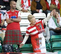 The kilt is back in Northern Portugal... A S.C. Braga football club supporter wearing a kilt