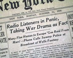 Orson Welles & the Mercury Theater's adaptation of H.G. Wells's War of the Worlds radio broadcast for Halloween 1938 causes panic.