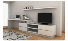 Want a setup like this. Modern Tv Units, Muebles Living, Interior Architecture, Interior Design, Tv In Bedroom, Living Room Tv, Home Office Design, Small Apartments, Home Furniture