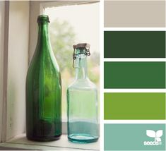 Bottled Hues: Taupe Gray, Forest Green, Kelly Green, Grass Green and Sea Glass Blue