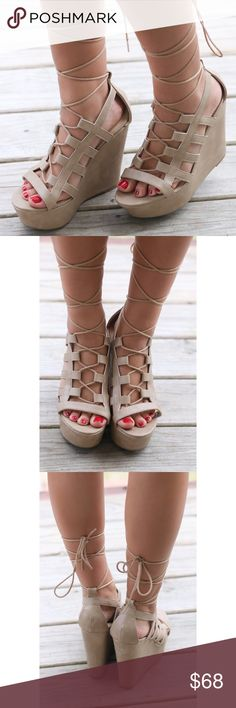 Nude Lace Up Gladiator Wedge These wedges will take you all through spring & summer with their delicate details and nude base. Pair with a pretty sundress or cropped pants for an effortlessly chic look! Heel height is 5.5 inches  Platform wedge Will come in a box but it may not be the original box. Boutique Shoes Wedges