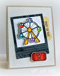 Lawn Fawn - Admit One stamps and coordinating dies, Say Cheese die _ enjoy the ride by nancyljk, via Flickr