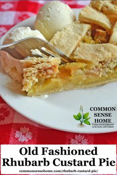Mom's Best Old Fashioned Rhubarb custard pie is a beautiful way to mellow the tartness of rhubarb in a smooth, creamy filling. This recipe features an easy to make 4 ingredient filling and homemade crust, plus tips to help you bake a perfect pie. Rhubarb Recipes, Pie Recipes, Sweet Recipes, Real Food Recipes, Dessert Recipes, Cooking Recipes, Recipies, Rhubarb Dishes, Rhubarb Desserts