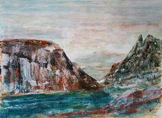 Rocky landscape (gesso - bister - acrylic on paper - based on A. Kiefer - 30x40 - 080316)