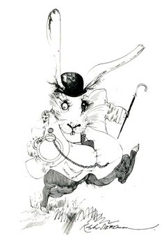 The White Rabbit of Alice in Wonderland (the 1972 edition). Illustration: Ralph Steadman.
