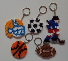 Sport keychains perler beads by Joanne Schiavoni