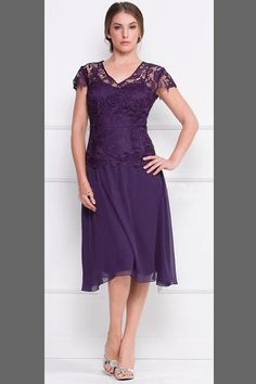 Lace Mother of the Bride Dresses Purple/Gray Chiffon Sexy Sheer Short Sleeves V-neck Tea Length Women Formal Evening Gowns 2015 Plus Size, $116.1 | DHgate.com